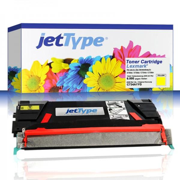 jetType Toner kompatibel zu Lexmark C734A1YG gelb 6.000 Seiten 1 Stück