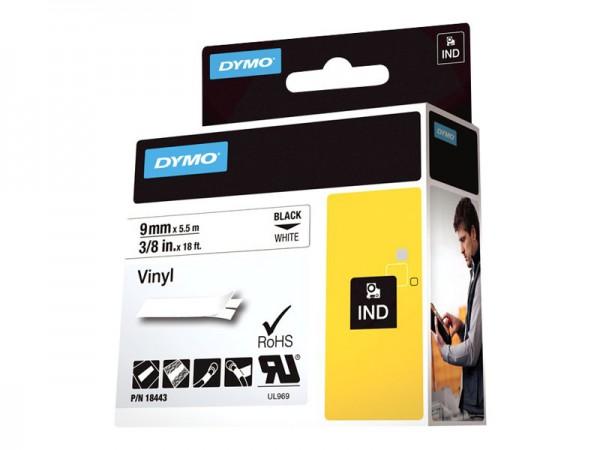 Dymo Schriftband S0718580 18443 9 mm 5,5 m schwarz auf weiß selbstklebend permanent Vinyl