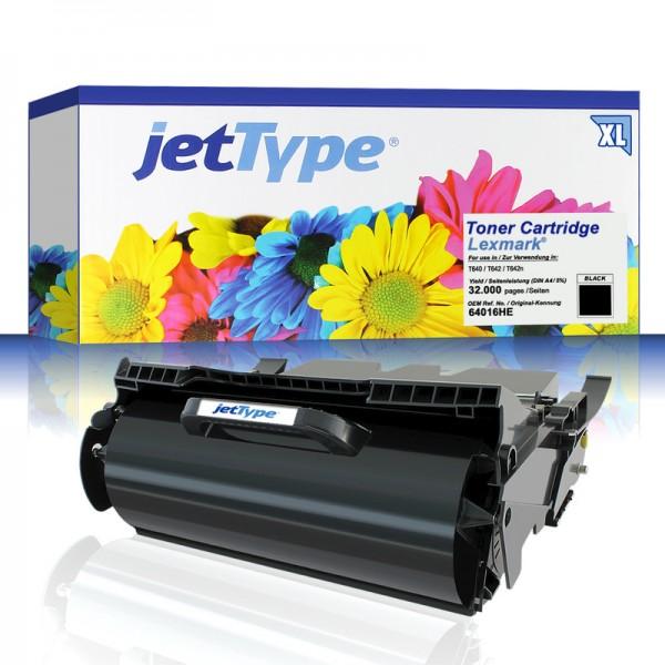 jetType Toner kompatibel zu Lexmark 64016HE schwarz 32.000 Seiten Große Füllmenge 1 Stück