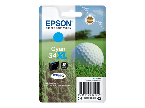 Epson Tinte C13T34724010 34XL Cyan 950 Seiten 10,8 ml Große Füllmenge 1 Stück