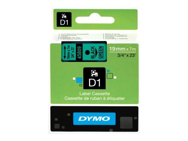 Dymo Schriftband 45809 S0720890 19 mm 7 m schwarz auf grün D1