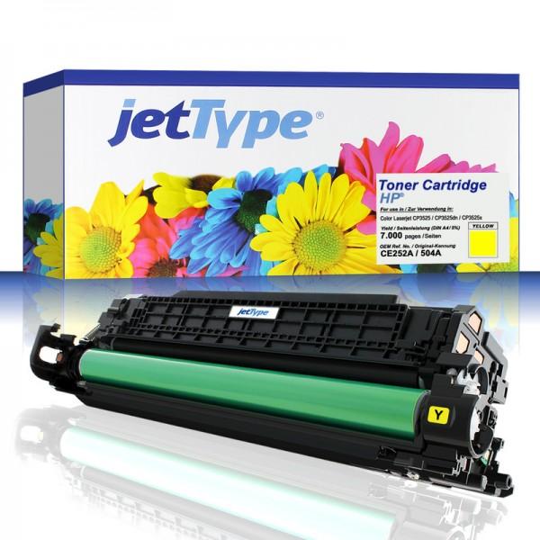 jetType Toner kompatibel zu HP CE252A 504A Gelb 7.000 Seiten 1 Stück