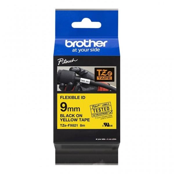 Brother Schriftband TZE-FX621 9 mm 8 m schwarz auf gelb laminiert Flexi-Tape