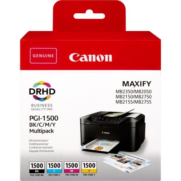 Canon Tinte Multipack 9218B005 PGI 1500 BK/C/M/Y BK= 12,4 ml / CMY= je 4,5 ml 4 Stück