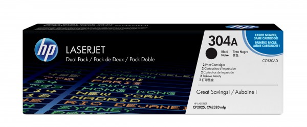 HP Toner Doppelpack CC530AD 304A schwarz 2x 3.500 Seiten 2 Stück