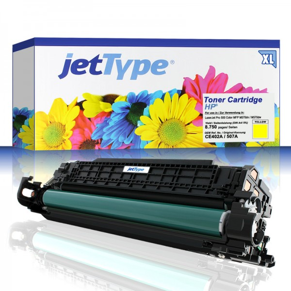 jetType Toner kompatibel zu HP CE402A 507A gelb 8.750 Seiten Große Füllmenge 1 Stück