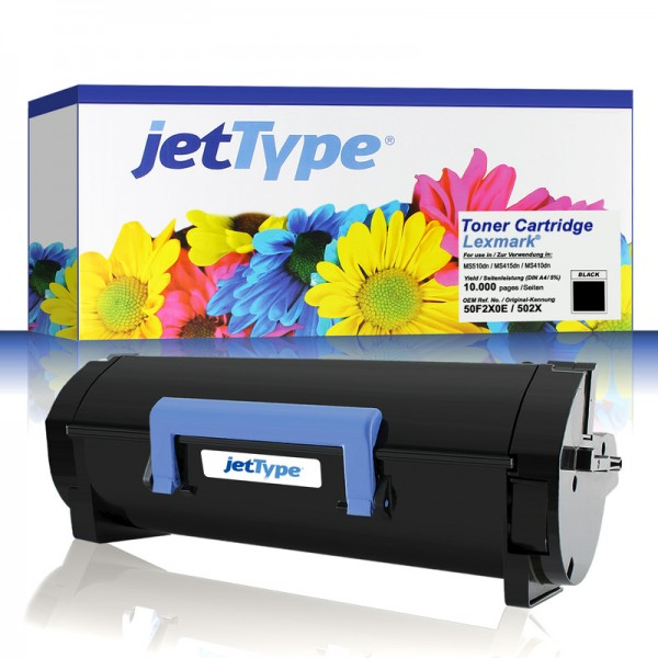jetType Toner kompatibel zu Lexmark 50F2X0E 50F2X00 502X Schwarz 10.000 Seiten 1 Stück