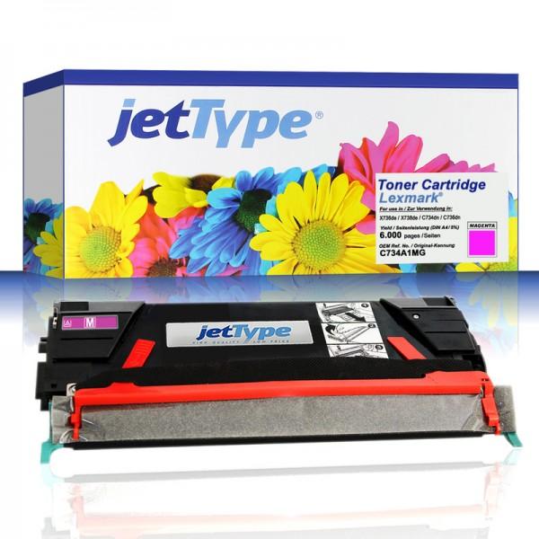 jetType Toner kompatibel zu Lexmark C734A1MG Magenta 6.000 Seiten 1 Stück