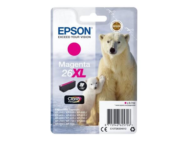 Epson Tinte C13T26334012 26XL Magenta 700 Seiten 9,7 ml Große Füllmenge 1 Stück