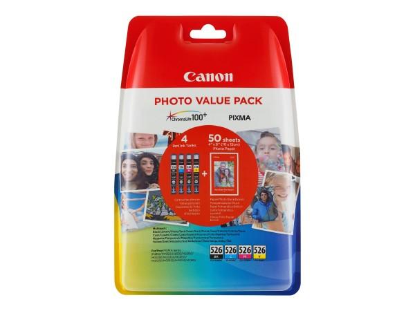 Canon Tinte 4540B017 CLI-526 BK/C/M/Y 450 Seiten 4x 9 ml + 50 Blatt Fotopapier (10 x 15) 4 Stück
