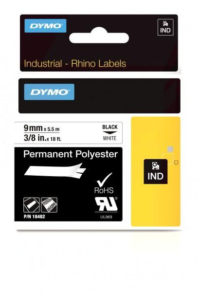Dymo Schriftband S0718240 18482 9 mm 5,5 m schwarz auf weiß Polyester beständig