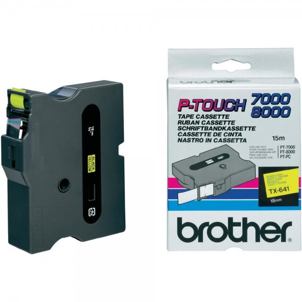 Brother Schriftband TX-641 18 mm 15 m schwarz auf gelb laminiert