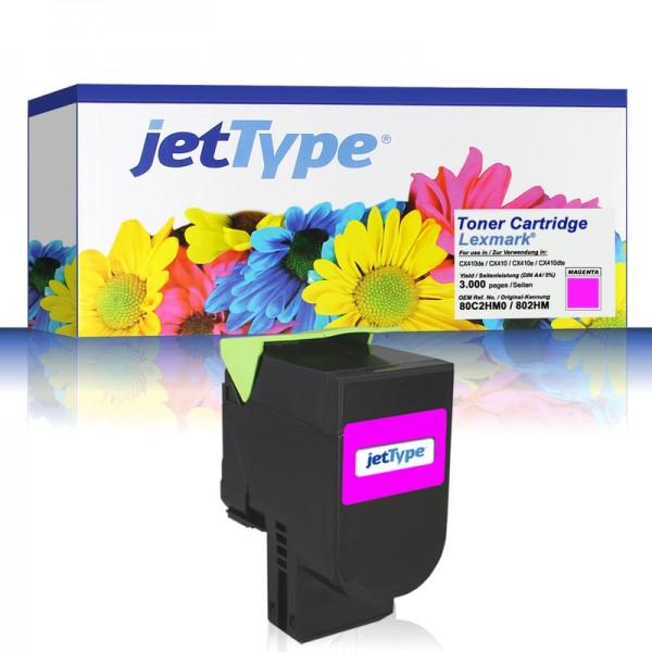 jetType Toner kompatibel zu Lexmark 80C2HM0 802HM magenta 3.000 Seiten 1 Stück