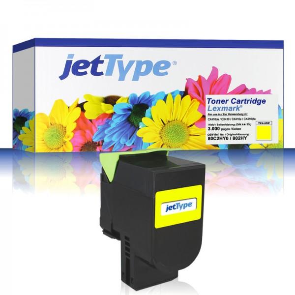 jetType Toner kompatibel zu Lexmark 80C2HY0 802HY gelb 3.000 Seiten 1 Stück