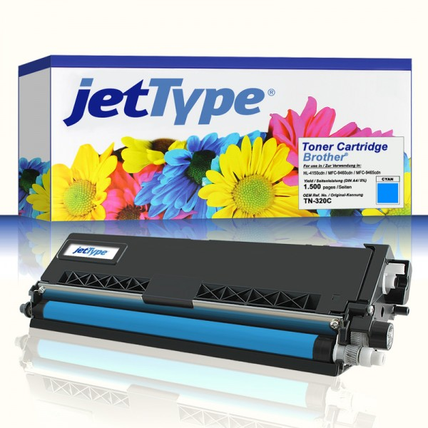 jetType Toner kompatibel zu Brother TN-320C cyan 1.500 Seiten 1 Stück