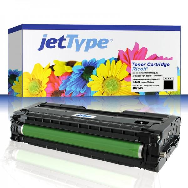 jetType Toner kompatibel zu Ricoh 407543 Schwarz 1.600 Seiten 1 Stück