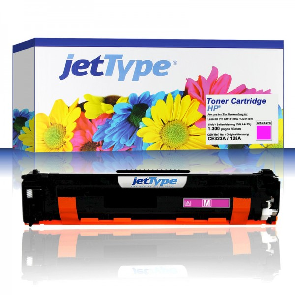 jetType Toner kompatibel zu HP CE323A 128A magenta 1.300 Seiten 1 Stück