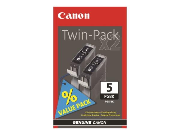 Canon Tinte Doppelpack 0628B030 PGI-5 BK Schwarz 800 Seiten 2x 26 ml pigmentiert 2 Stück