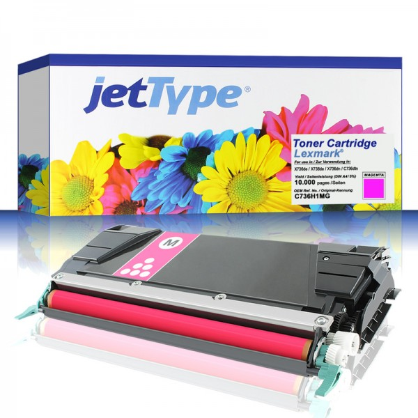 jetType Toner kompatibel zu Lexmark C736H1MG C746A1MG magenta 10.000 Seiten Universalkartusche