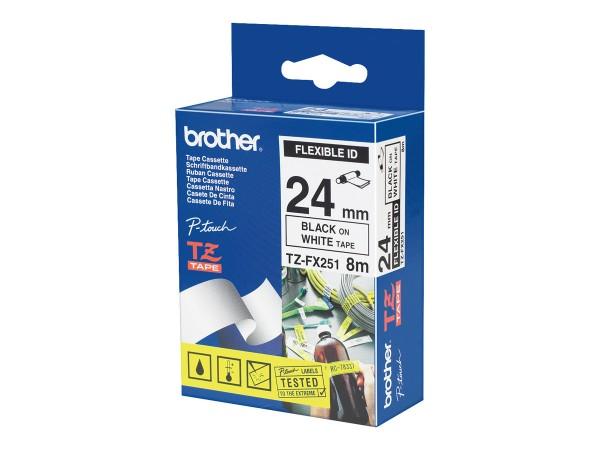 Brother Schriftband TZe-FX251 24 mm 8 m schwarz auf weiß laminiert Flexi-Tape