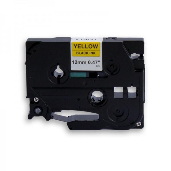 jetType Schriftband kompatibel zu Brother TZE-631 12 mm 8 m schwarz auf gelb 1 Stück