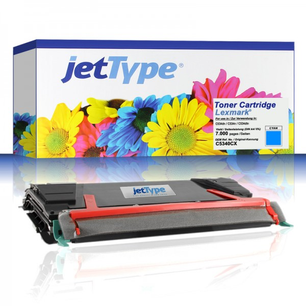 jetType Toner kompatibel zu Lexmark C5340CX cyan 7.000 Seiten 1 Stück