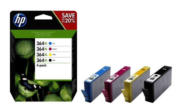 HP Tinte Multipack N9J74AE 364XL BK/C/M/Y BK = 550 Seiten / CMY = je 750 Seiten Große Füllmenge 4