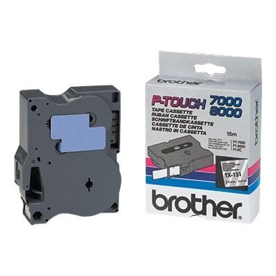 Brother Schriftband TX-151 24 mm 15 m schwarz auf transparent laminiert
