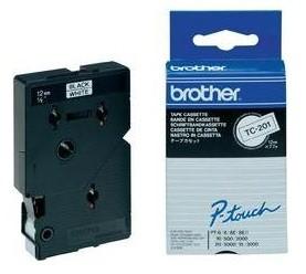 Brother Schriftband TC-201A 12 mm 7,7 m schwarz auf weiß laminiert 10 Stück