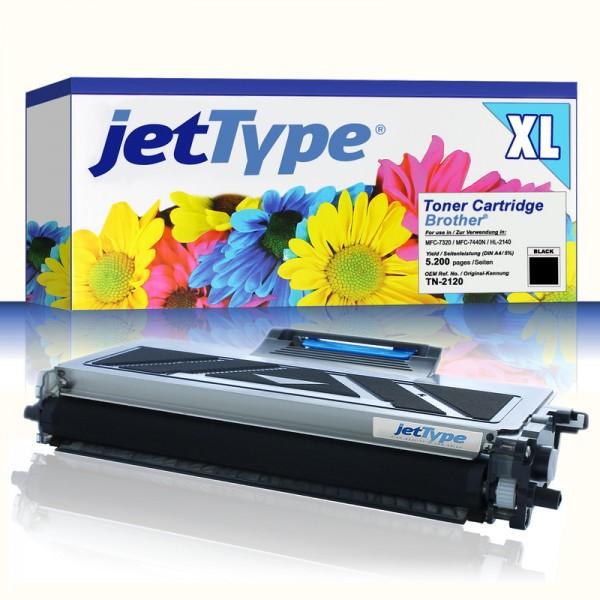 jetType Toner kompatibel zu Brother TN-2120 schwarz 5.200 Seiten Große Füllmenge 1 Stück