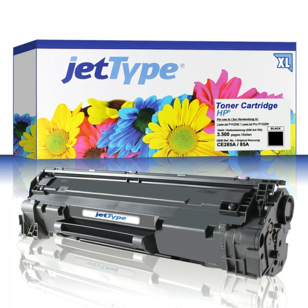jetType Toner kompatibel zu HP CE285A 85A schwarz 3.500 Seiten Große Füllmenge 1 Stück