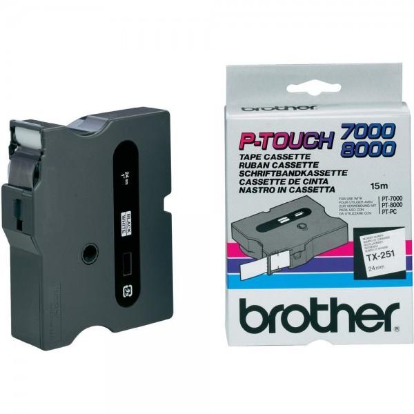 Brother Schriftband TX251 24 mm 15 m schwarz auf weiß laminiert
