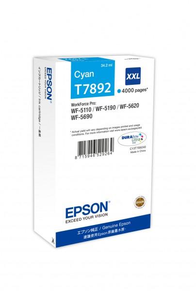 Epson Tinte C13T789240 T7892 cyan 4.000 Seiten 34,2 ml Große Füllmenge 1 Stück