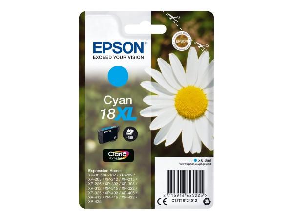 Epson Tinte C13T18124012 18XL Cyan 450 Seiten 6,6 ml Große Füllmenge 1 Stück