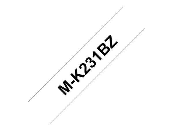 Brother Schriftband MK231BZ 12 mm 8 m schwarz auf weiß nicht laminiert