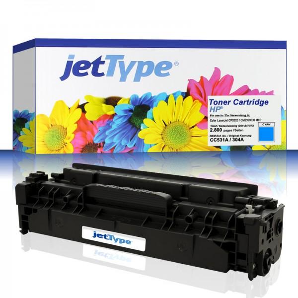 jetType Toner kompatibel zu HP CC531A 304A cyan 2.800 Seiten 1 Stück
