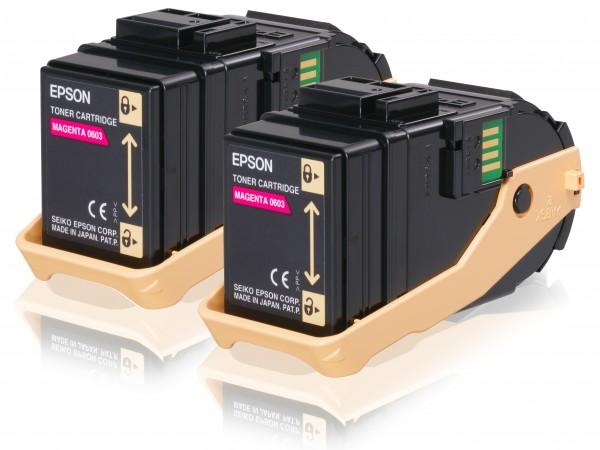Epson Toner Doppelpack C13S050607 0603 Magenta 2x 7.500 Seiten 2 Stück