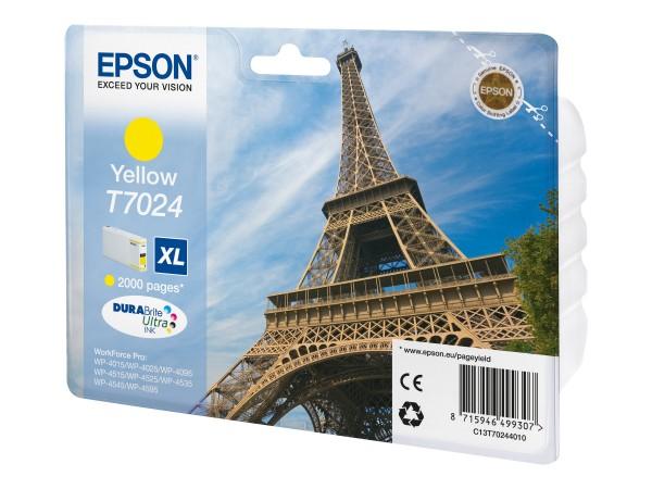 Epson Tinte C13T70244010 T7024 gelb 2.000 Seiten 21,3 ml Größe XL Große Füllmenge 1 Stück