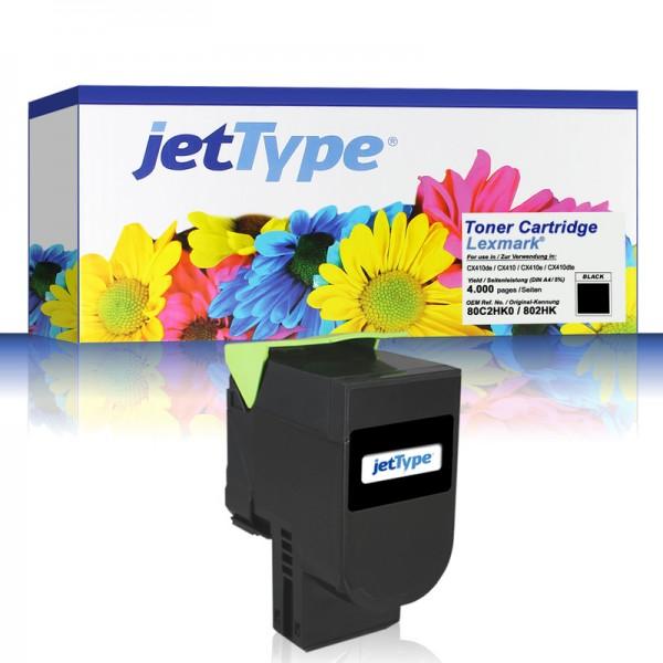 jetType Toner kompatibel zu Lexmark 80C2HK0 802HK schwarz 4.000 Seiten 1 Stück