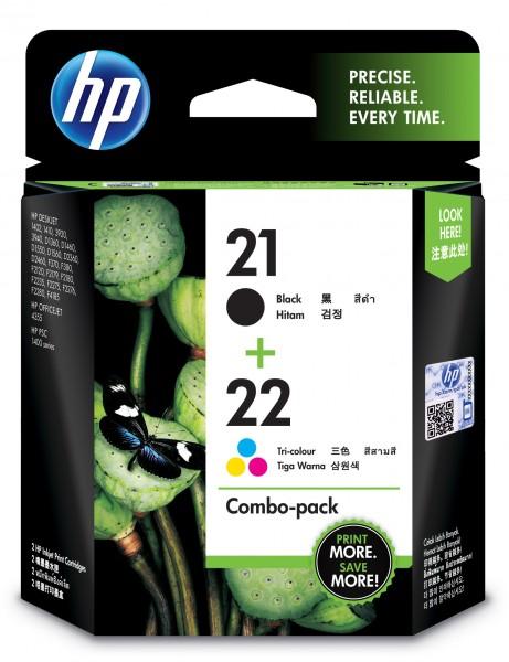 HP Tinte Multipack SD367AE 21+22 Schwarz + Color BK = 190 Seiten / Color = 165 Seiten 2 Stück