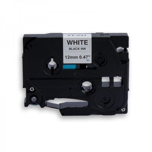 jetType Schriftband kompatibel zu Brother TZE-231 12 mm 8 m schwarz auf weiß 1 Stück