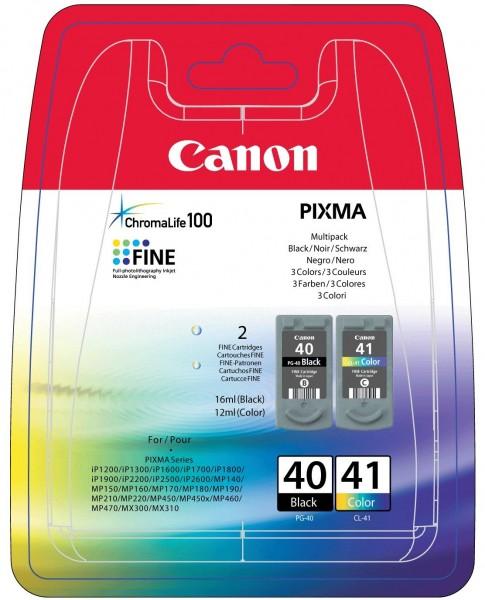 Canon Tinte Multipack 0615B043 PG-40 / CL-41 BK/C/M/Y BK = 16 ml / Color = 12 ml 2 Stück