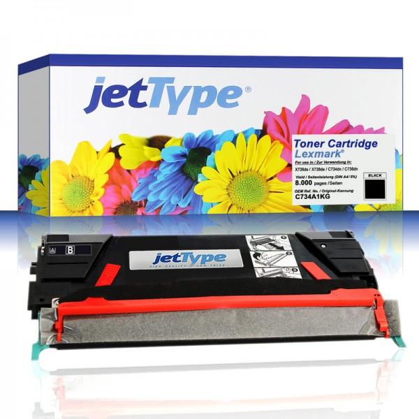 jetType Toner kompatibel zu Lexmark C734A1KG schwarz 8.000 Seiten 1 Stück