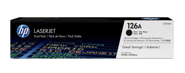 HP Toner Doppelpack CE310AD 126A schwarz 2x 1.200 Seiten 2 Stück