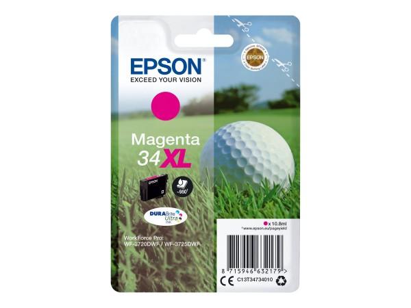 Epson Tinte C13T34734010 34XL Magenta 950 Seiten 10,8 ml Große Füllmenge 1 Stück