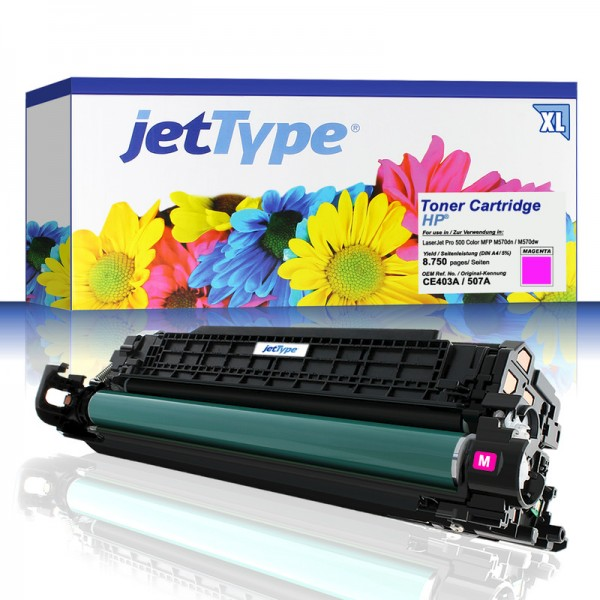 jetType Toner kompatibel zu HP CE403A 507A magenta 8.750 Seiten Große Füllmenge 1 Stück