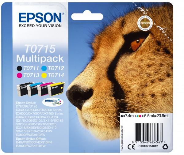 Epson Tinte Multipack C13T07154012 T0715 BK/C/M/Y BK = 7,4 ml / CMY = je 5,5 ml 4 Stück
