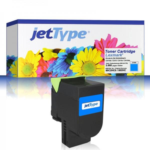 jetType Toner kompatibel zu Lexmark 80C2HC0 802HC cyan 3.000 Seiten 1 Stück