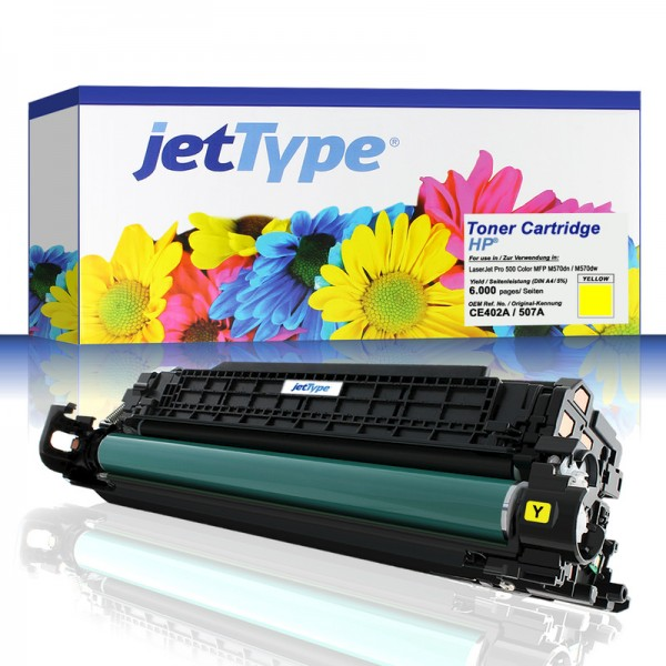 jetType Toner kompatibel zu HP CE402A 507A gelb 6.000 Seiten 1 Stück
