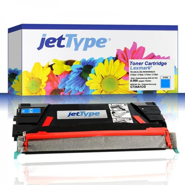 jetType Toner kompatibel zu Lexmark C734A1CG cyan 6.000 Seiten 1 Stück